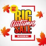 Grande vente d'automne Bannière d'offre spéciale avec l'élément manuscrit, remise jusqu'à 50%  Ce week-end seulement Photographie stock libre de droits