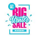 Grande vente d'hiver Bannière d'offre spéciale avec l'élément manuscrit, remise jusqu'à 50%  Images libres de droits