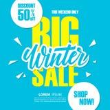 Grande vente d'hiver Bannière d'offre spéciale avec l'élément manuscrit, remise jusqu'à 50%  Photos libres de droits