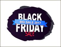 Grande vente 2017 de Black Friday écrite sur l'éclaboussure de brosse Illustration Stock