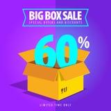 Grande vente de boîte, offres spéciales et remises Photographie stock libre de droits