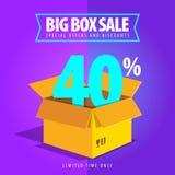 Grande vente de boîte, offres spéciales et remises Photo stock