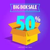 Grande vente de boîte, offres spéciales et remises Photographie stock