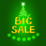 Grande vente de fond Illustration lumineuse dans des couleurs vertes et jaunes Illustration avec des flocons de neige Photo stock