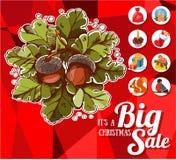 Grande vente de Noël avec des icônes Image libre de droits