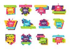 Grande vente superbe jusqu'à 90 emblèmes promotionnels réglés Photo stock