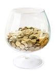 Grande vetro con le monete Immagini Stock Libere da Diritti