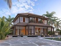 Grande villa de luxe sur les îles océaniques Images stock