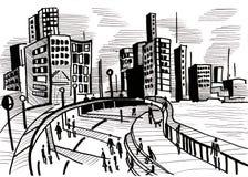Grande ville. Été et routes et rue, Image stock