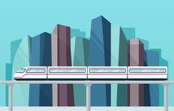 Grande ville avec les gratte-ciel et le souterrain de skytrain illustration libre de droits