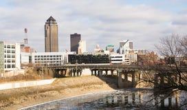 Grande ville du centre de Des Moines Iowa Midwest Photos stock