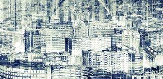 Grande ville moderne, double exposition abstraite image libre de droits