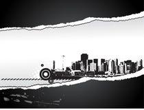 Grande ville - papier de larme dénommé par grunge. Photo libre de droits