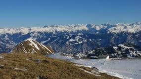 Grande vista da área do esqui de Pizol Fotos de Stock Royalty Free