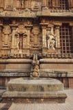 Grande vista della parete laterale del tempio - tempio di Thanjavur fotografie stock