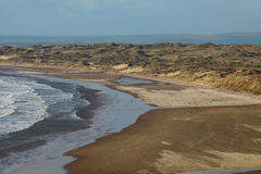 Grande vista della spiaggia sabbiosa Fotografia Stock