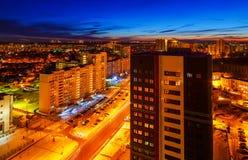 Grande vista di notte della città dalla cima Fotografie Stock Libere da Diritti