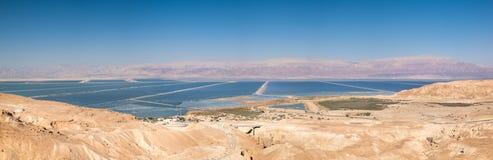 Grande vista panorâmica do Mar Morto no por do sol Fotografia de Stock Royalty Free