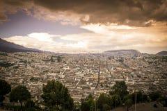 Grande vista panoramica della città di Quito, Ecuador Fotografia Stock Libera da Diritti