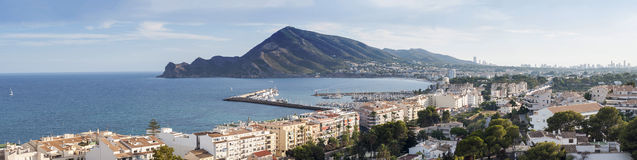 Grande vista panoramica di Altea, Spagna Fotografia Stock Libera da Diritti