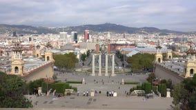 Grande vista sopra Barcellona da Palau Nacional - Placa de Espanya stock footage
