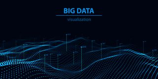 Grande visualisation 3d de donn?es Vague de technologie Repr?sentation d'Analytics Fond abstrait color? illustration de vecteur