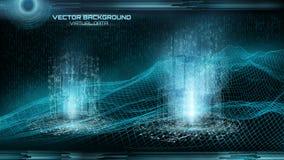 Grande visualisation de données Paysage de cyberespace Code binaire Virt Photos stock