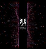 Grande visualisation de vecteur d'abrégé sur données Lignes et rangée de points Grand complexe de connexion de données Élément gr illustration stock