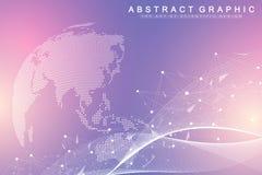 Grande visualizzazione di dati Comunicazione astratta grafica del fondo Contesto di prospettiva Matrice minima Dati di Digital illustrazione di stock