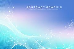 Grande visualizzazione genomica di dati Elica del DNA, filo del DNA, molecola della prova del DNA o atomo, neuroni Struttura astr illustrazione di stock