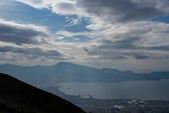 Grande vue au-dessus de la côte de Naples du mont Vésuve photographie stock libre de droits