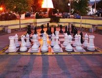 Grande xadrez em Alexandria Square em Prilep macedonia imagem de stock royalty free