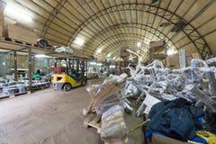 Grande zone de stockage avec l'équipement de gymnase Images stock