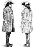 Grandees conversing. Vector drawing of the persons in the theatrical suits royalty free illustration