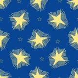 Grandes étoiles avec des rayons et de petites étoiles d'ensemble illustration de vecteur
