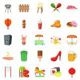 Grandes ícones ajustados, estilo do feriado dos desenhos animados Fotos de Stock