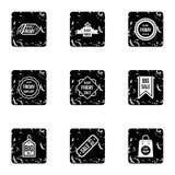 Grandes ícones ajustados, estilo dos discontos do grunge ilustração stock