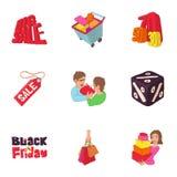 Grandes ícones ajustados, estilo dos discontos dos desenhos animados Imagem de Stock Royalty Free