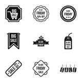 Grandes ícones ajustados, estilo simples dos discontos Imagens de Stock