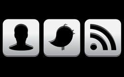Grandes ícones do Social do cromo ilustração royalty free