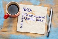 Grandes astuces de contenu et de liens SEO Images stock