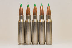 5 grandes balas do rifle do calibre Foto de Stock