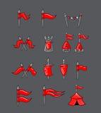 Grandes bandeiras projetadas dos desenhos animados fotografia de stock