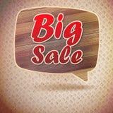 Grandes bulles de la parole de vente de vintage de bois. Image libre de droits