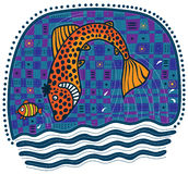 Grandes chasses oranges à poissons pour de petits poissons Photo stock