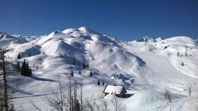 Grandes conditions de neige sur Vogel, Slovénie image stock