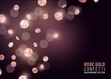 Grandes confetes do brilho de Rose Gold ilustração stock