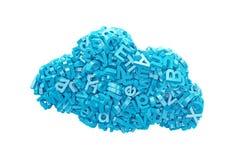 Grandes données caractères bleus dans la forme de nuage illustration 3D