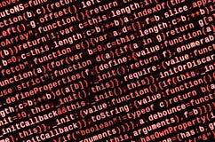 Grandes données et Internet de tendance de choses Lieu de travail informatique de spécialiste Code de HTML de site Web sur l'affi images libres de droits