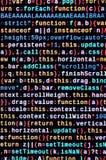 Grandes données et Internet de tendance de choses Lieu de travail informatique de spécialiste Code de HTML de site Web sur l'affi photos stock